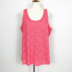 Lane Bryant Lace Tank Top Pink Size 18/20